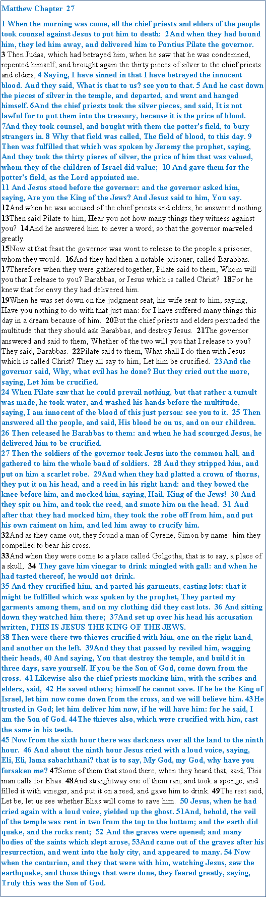 Text Box: Matthew Chapter 27 [NKJV]